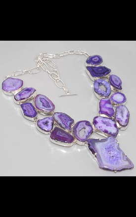 REAL SILVER dress purple Agate Geode necklace by Nature's trinket