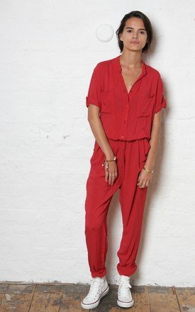 Red h jumpsuit by SilkFred Ltd. Product photo