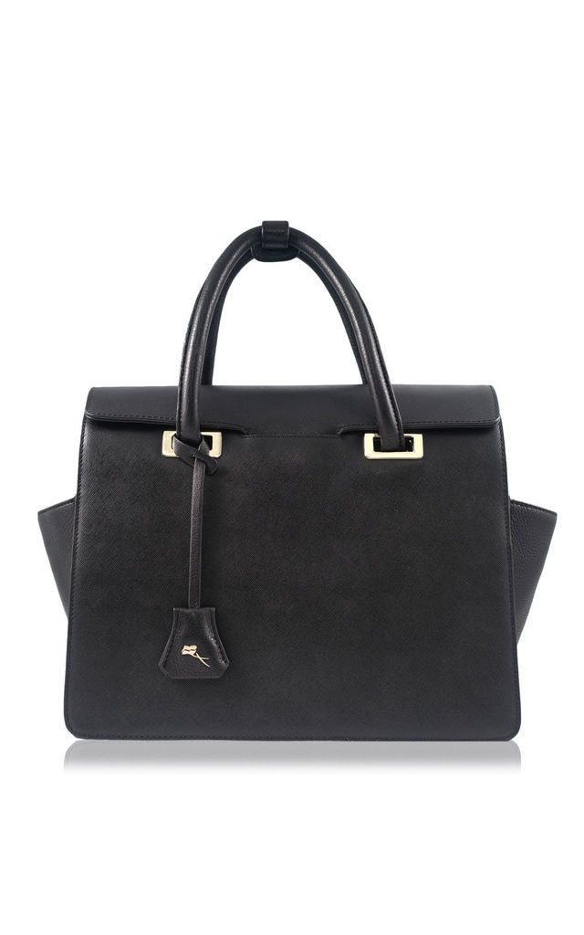 PEYTON FAUX LEATHER TOTE BAG IN BLACK by Florian London