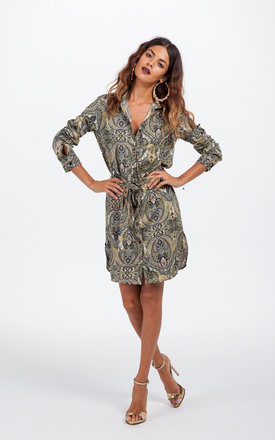 Mini shirt dress in green paisley by Dancing Leopard Product photo