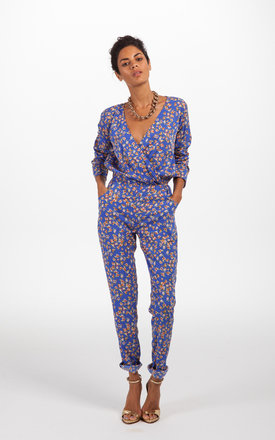 Stardust jumpsuit in sky blue floral by Dancing Leopard Product photo