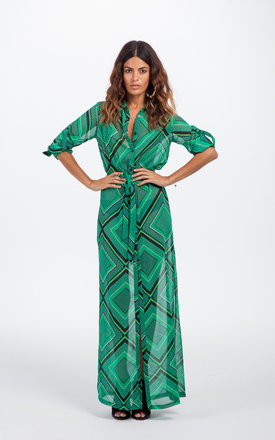 Maxi shirt dress in green diamond by Dancing Leopard Product photo