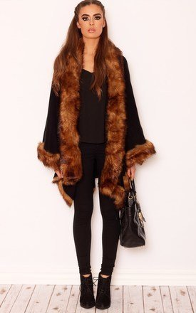 Luxurious faux fur poncho by LullaBellz Product photo