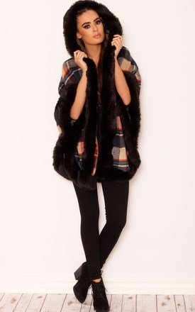 Subtle tartan faux fur poncho by LullaBellz Product photo