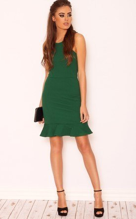 Evie emerald frill bodycon dress by LullaBellz Product photo