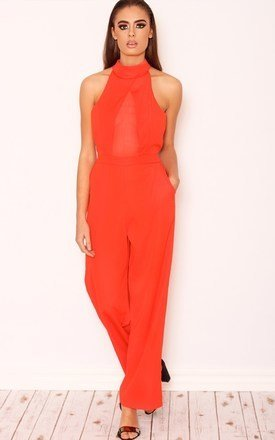 Scarlett red mesh jumpsuit by LullaBellz Product photo