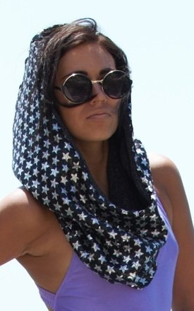 Ad astra black::Silver star snood  by Wild Buffalo & Robe Unfold Product photo