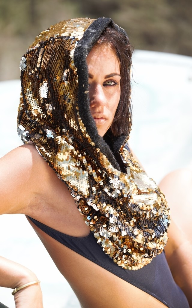 Aurum Argentum- golden & silver sequin Snood by Wild Buffalo & Robe Unfold