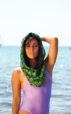 Sapphire - green sequin Snood by Wild Buffalo & Robe Unfold