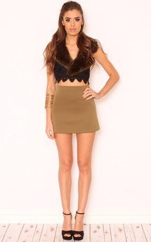 Logan khaki green a-line skirt by Dolly Rocka Product photo