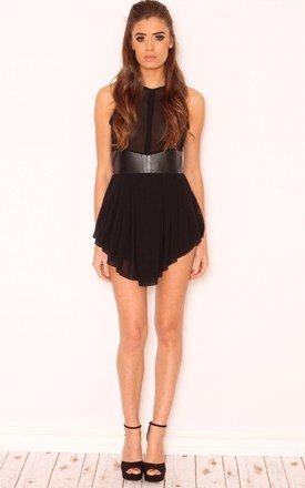 Rhianna faux leather panel dress by Dolly Rocka Product photo