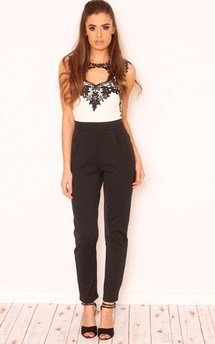 Verity crochet lace keyhole jumpsuit by Dolly Rocka Product photo