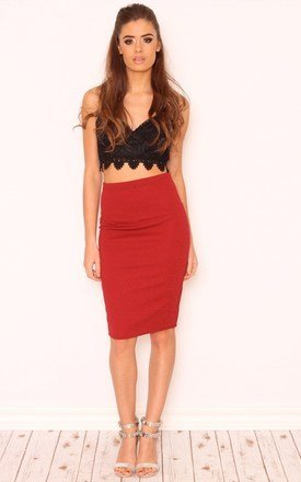 Ruby textured sparkle pencil skirt by Dolly Rocka Product photo