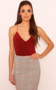 Perrie wine slinky cross back crop top by Dolly Rocka Product photo