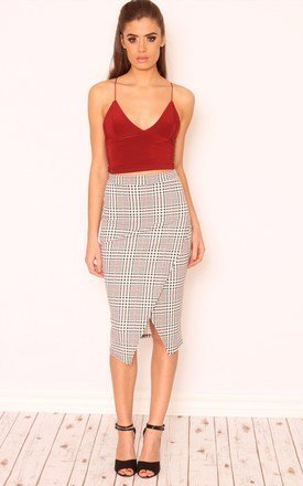 Laura checkmate split front pencil skirt by Dolly Rocka Product photo