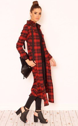 Pippa longline check collar jacket by Dolly Rocka Product photo