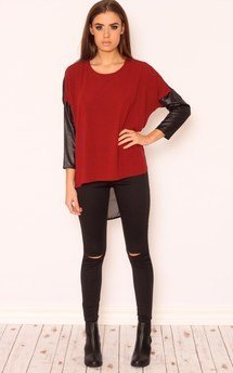 Nova faux leather sheer jumper by Dolly Rocka Product photo