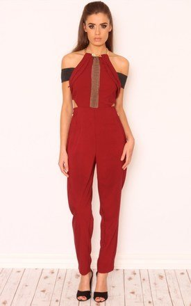 Taylor chain collar mesh jumpsuit by LullaBellz Product photo