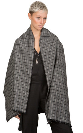 Handwoven merino wool grey checks scarf by likemary Product photo