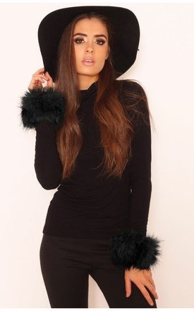 Zoella black faux fur cuffs by LullaBellz Product photo