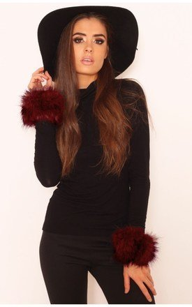 Melissa maroon faux fur cuffs by LullaBellz Product photo