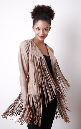 Fringed faux suede jacket by Liquorish Product photo