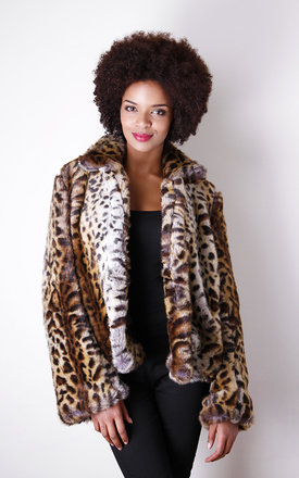 Leopard print faux fur coat by Liquorish Product photo