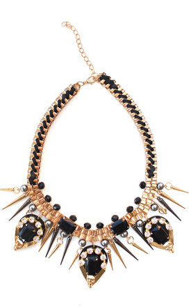 Drop black gems and spikes necklace by Liquorish Product photo
