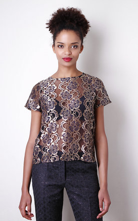 Golden lace floral crop top by Liquorish Product photo