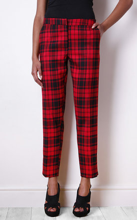 Bright red tartan trousers by Liquorish Product photo