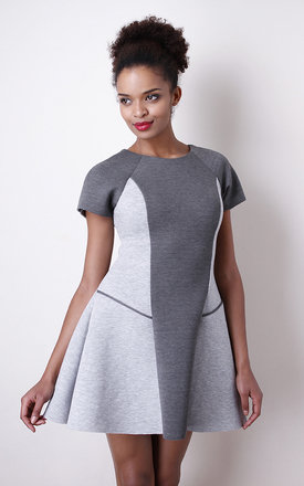 Structured Skater Dress in Bonded  Scuba by Liquorish