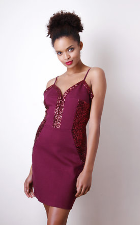 Red Cami Dress with Sequin Panels by Liquorish