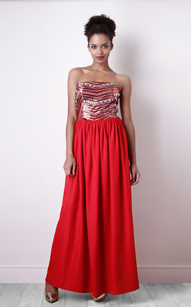 Red sequin detail bandeau maxi dress by Liquorish Product photo