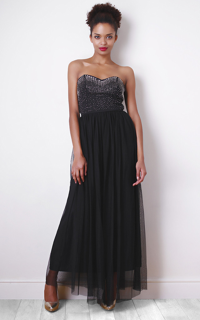 Bead Detail Black Maxi Dress with Tulle Skirt by Liquorish