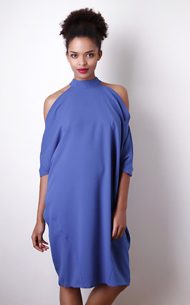 Open shoulder dress in blue by Liquorish Product photo