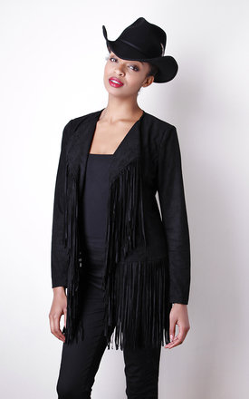 Black western fringe jacket  by Liquorish Product photo