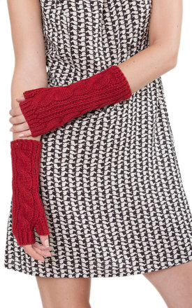 Merino wool cable knitted long fingerless gloves red by likemary Product photo