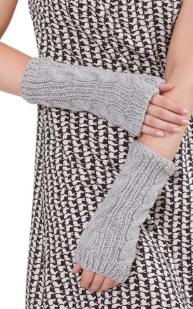 Merino wool cable knitted long fingerless gloves grey by likemary Product photo