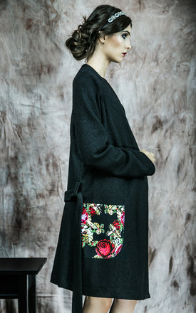 Long sweater with flower pockets by KASIA MICIAK Product photo