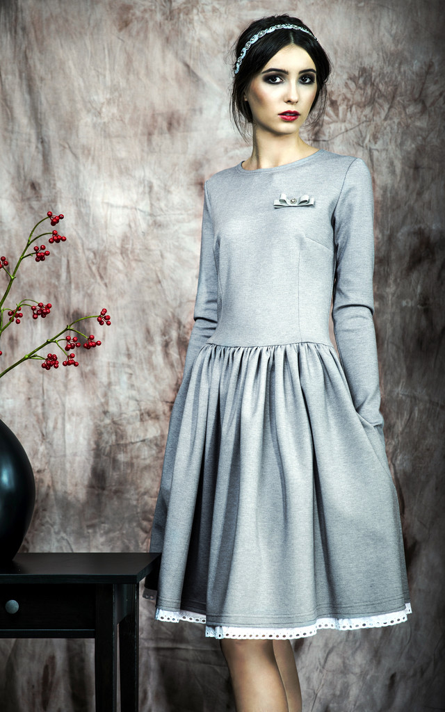 Flared dress with embroidered lace by KASIA MICIAK