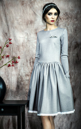 Flared dress with embroidered lace by KASIA MICIAK Product photo