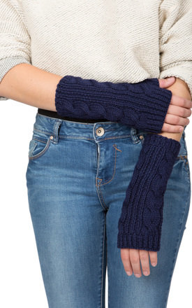 Merino wool cable knitted long fingerless gloves navy by likemary Product photo