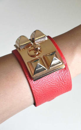 Red five stud cuff bracelet by Label MB Product photo
