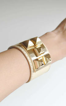 Beige five stud cuff bracelet by Label MB Product photo