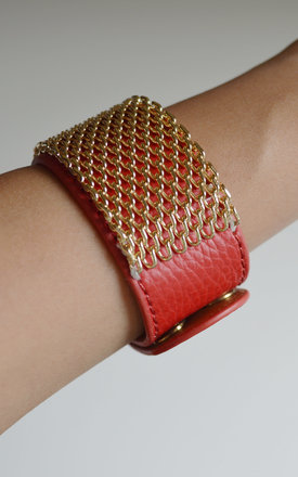 Red bracelet cuff with chain detail by Label MB Product photo