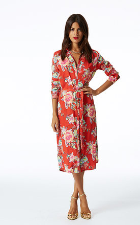 Midi shirt dress in red floral by Dancing Leopard Product photo