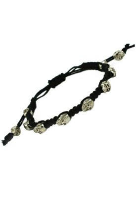 Black plait skull bracelet by Emi Jewellery Product photo