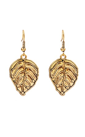 Vintage style 80s gold leaf earrings by Emi Jewellery Product photo