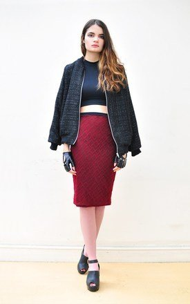 High waist knitted pencil skirt by Hardy Punglia Design Product photo