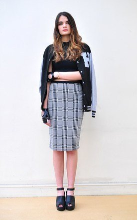 High waist dogtooth pencil skirt by Hardy Punglia Design Product photo